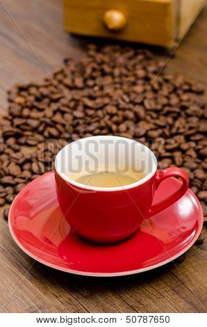 Red Mug With Espresso Coffee