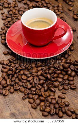 Arabica Beans And Red Espresso Mug