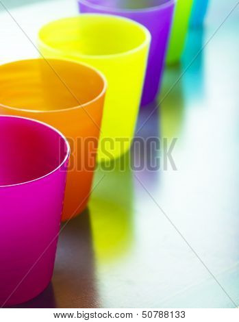 Group of colorful plastic cups