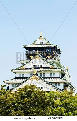 Osaka Castle Over View From The Front