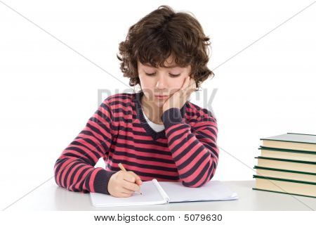 Adorable Boy Tired With Many Books