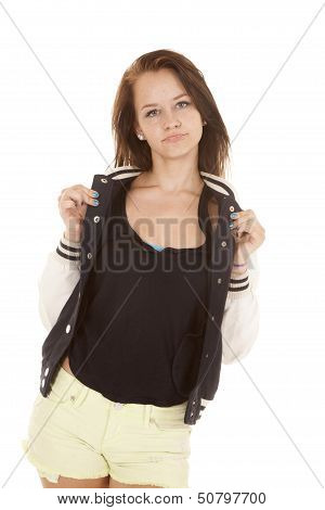 Girl Holding Colar Of Her Jacket