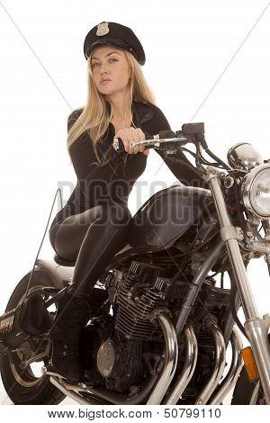 Woman Cop Motorcycle Ride Look