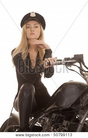 Woman Cop Motorcycle Sit Hand Under Chin