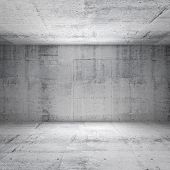 Abstract white interior of empty room with concrete walls poster