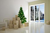 Christmas Interior moving house with cardboard boxes poster