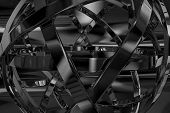 Abstract Metal Object - Abstract 3D Design. Black and White. poster