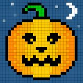 8-bit Pixel Art Halloween Pumpkin. Eyes pumpking and background are on separate layers. Pixel grid is still intact for edits poster