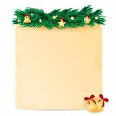 sheet of paper decorated with fir branch and christmas toys.christmas background.vector poster