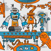 Seamless pattern cartoon robots on the assembly line poster
