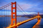 view of famous Golden Gate Bridge by night in San Francisco California USA poster