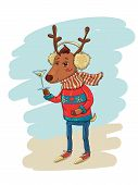 Funny Vector Illustration with Trendy Hipster Deer poster