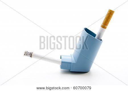 Cigarette with filter and inhaler
