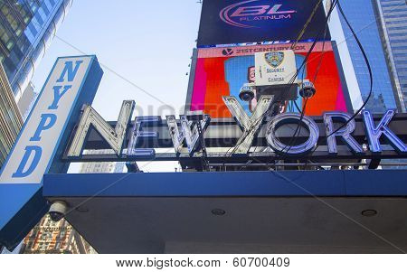 Famous NYPD Times Square Precinct and Security Cameras in Midtown Manhattan