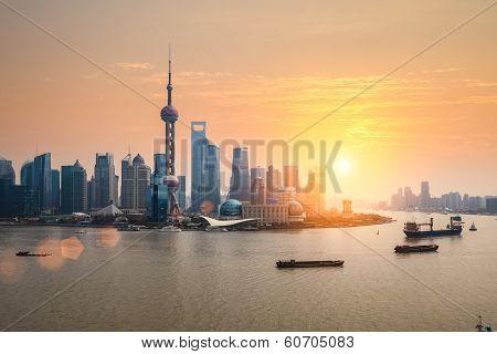 Beautiful Dusk With Shanghai Skyline