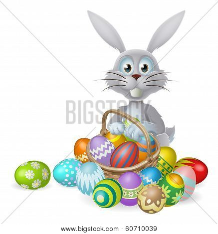 Easter Bunny And Chocolate Egg Basket