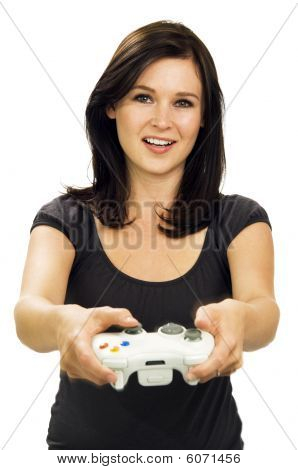 Smiling Girl Playing Video Game
