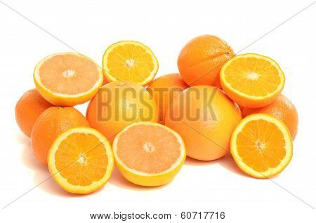 Pile of fresh organic oranges and grapefruits.