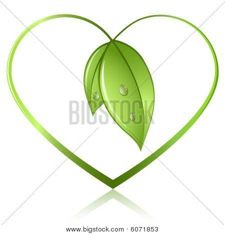 Grünes Blatt-Herz