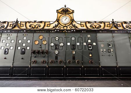 electric controller room in an old factory poster
