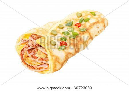 Crepe Stuffed With Ham And Cheese