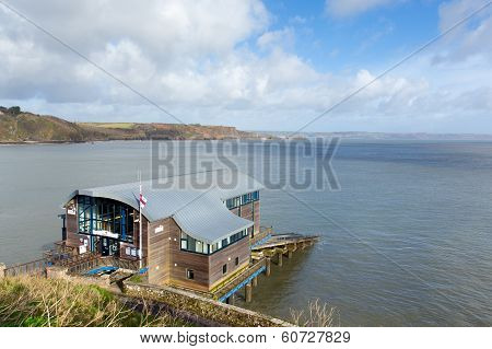 RNLI Lifeboat station house Tenby coast Pembrokeshire Wales UK