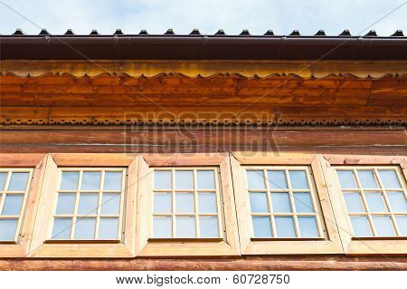 Windows Of Wooden Log House