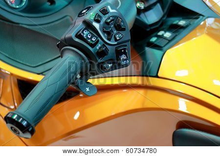 Motorcycle Steering Wheel Throttle Control Lever Closeup