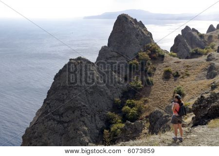 woman in a mountain