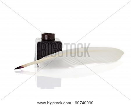 Inkwell With Quill Pen