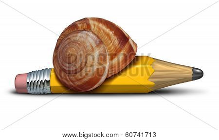 Slow strategy business concept and planning delays metaphor with a snail shaped as a pencil as a symbol of sluggish profress and procrastination of plans and reform. poster