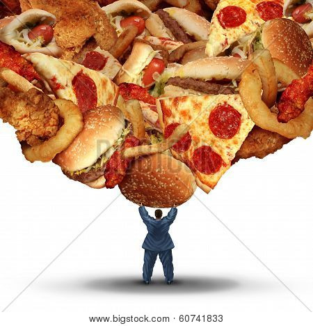 Dieting challenge health concept with an obese person holding up a group of unhealthy fatty fast food as a health risk symbol of bad nutrition and risk of heart disease. poster