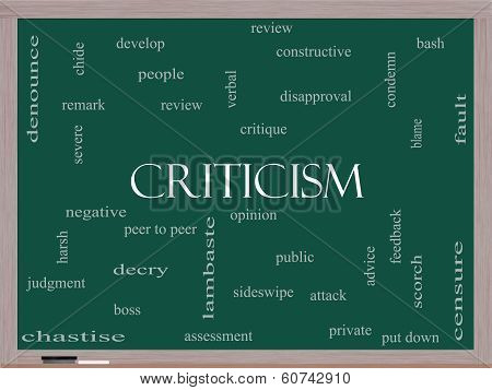 Criticism Word Cloud Concept On A Blackboard