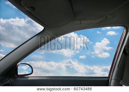 Landscape Behind  Car Window