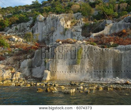 Ruins Of Half-sunken Ancient Town Simena