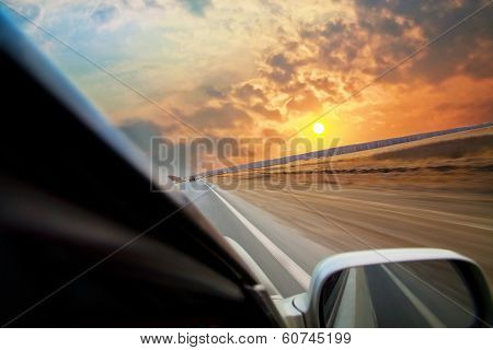 Car Moves On Road