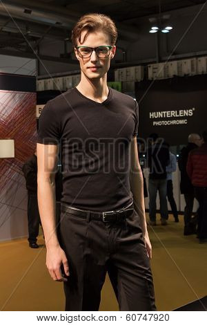 Handsome Young Man Modelling With Glasses At Mido 2014 In Milan, Italy