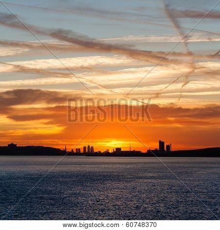 Sunset over London