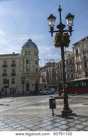 Lamppost And Hotel Victoria In Corner With Recogidas Street And Cinema - Theatre Aliatar In The Back