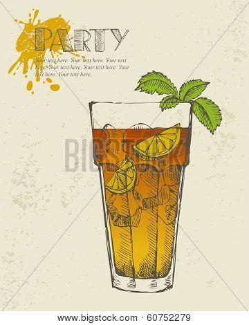 Hand drawn illustration of Long island tea cocktail.
