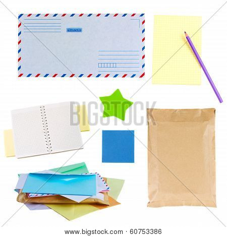 mail envelopes, notes and  stickers