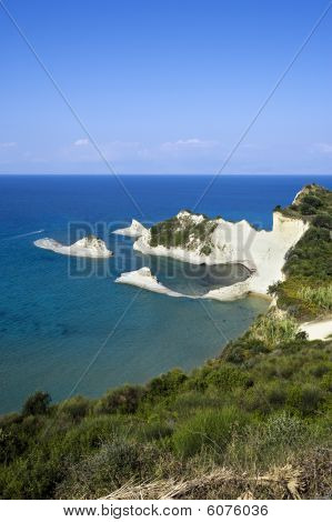 the famous white cliffs at Cape Drastis on the island of Corfu Greece poster