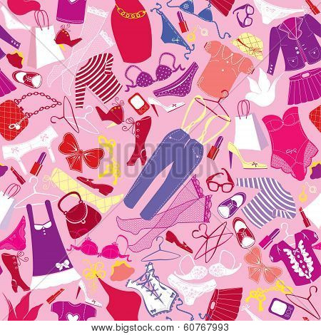 Seamless pattern for fashion Design - Silhouettes of glamor clothes and accessories - colorful images on pink background. poster