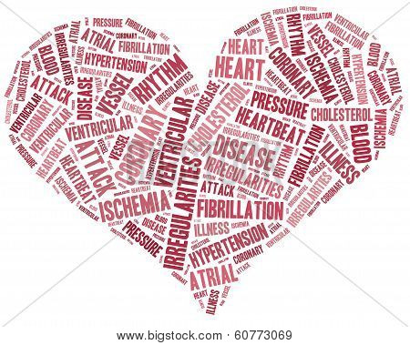 Word cloud heart disease related in shape of heart organ poster