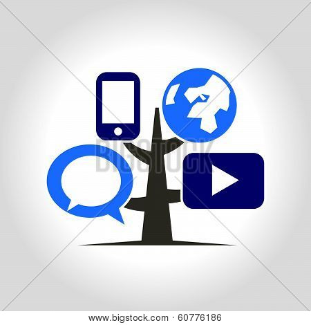 Digital tree icon logo template.