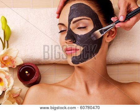 Cosmetologist smears cosmetic mask on the face of the woman in the sap salon poster