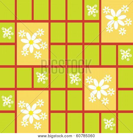Abstract Seamless Pattern With Daisies