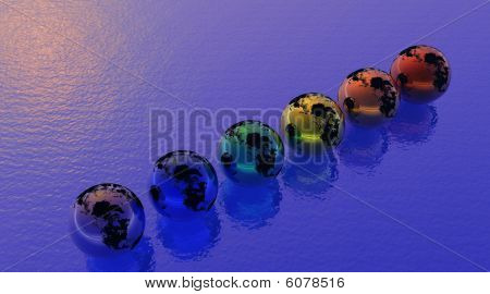 Six rainbow color alined earth floating upon the sea with red reflection in the angle poster