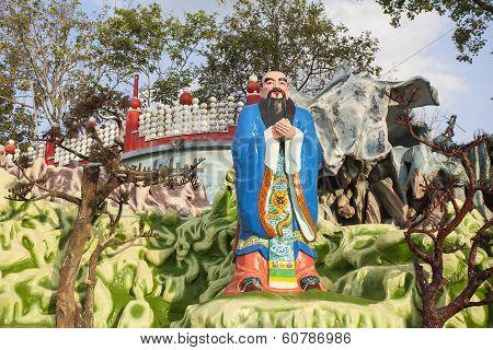 Confucius Statue At Haw Par Villa