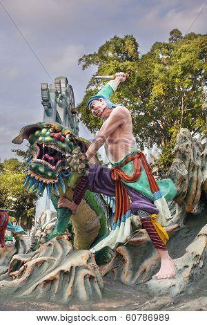 Wu Song Slaying Tiger Statue At Haw Par Villa